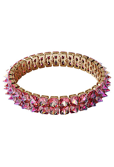 Swarovski Chroma Choker Necklace , Spike Crystals, Pink, Gold-Tone Plated
