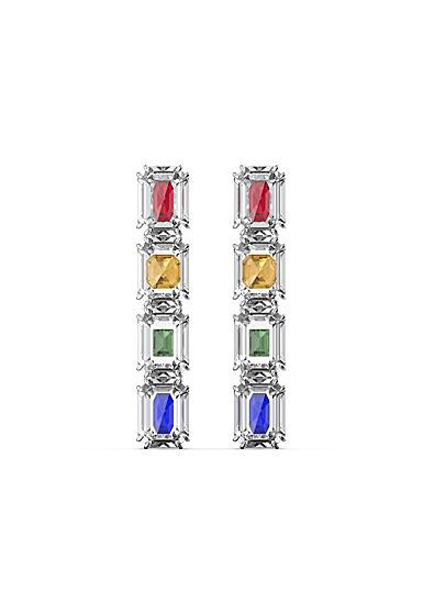 Swarovski Chroma Drop Earrings, Oversized Crystals, Multicolored, Rhodium Plated, Pair