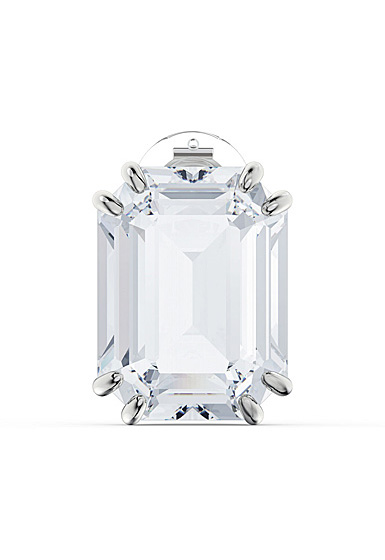 Swarovski Mesmera Clip Earring Single, Octagon Cut Crystal, White, Rhodium Plated