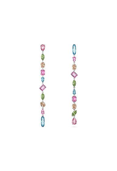 Swarovski Gema Drop Earrings, Extra Long, Multicolored, Rhodium Plated, Pair