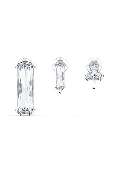 Swarovski Mesmera Clip Earring Singles Set of 3, Baguette Cut Crystal, White, Rhodium Plated