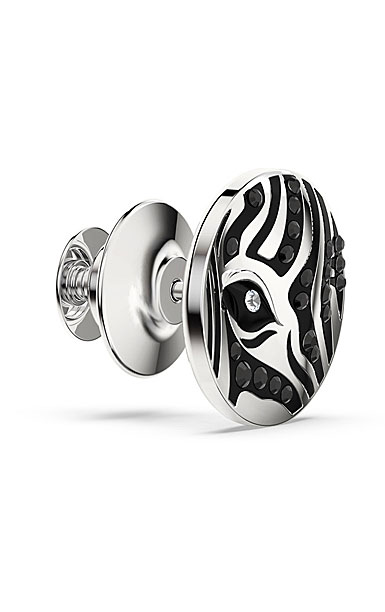 Swarovski Crystal and Rhodium Zebra Tack Pin