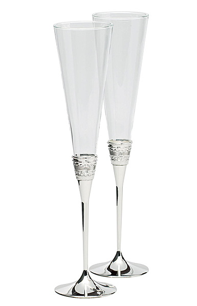 Vera Wang Wedgwood, With Love Silver Toasting Crystal Flutes, Pair