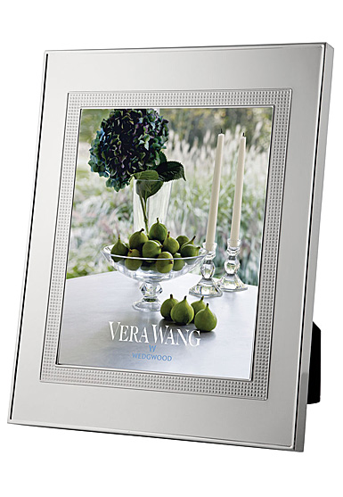 """Vera Wang Wedgwood Silver Plate Blanc Sur Blanc 5x7"""" Picture Frame"""