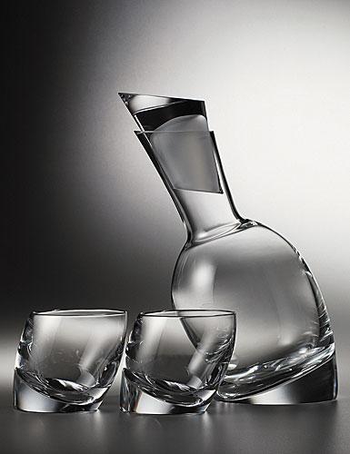 Nambe Tilt Decanter Set with Two 10 oz. glasses