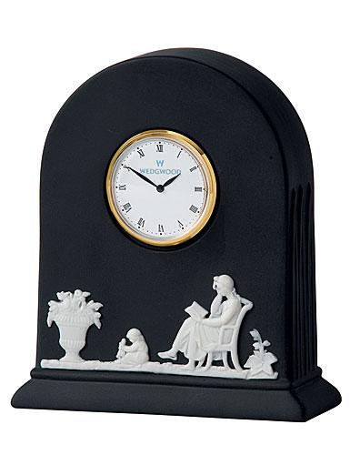 Wedgwood Jasper Classic Clock, White on Black