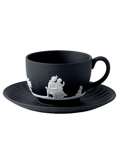 Wedgwood Jasperware White on Black - Teacup and Saucer