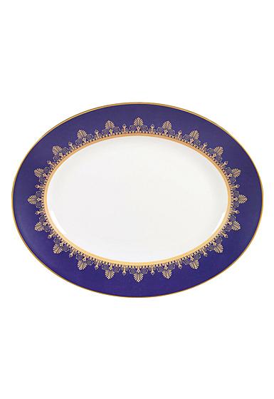 "Wedgwood Anthemion Blue Oval Platter 13.75"""