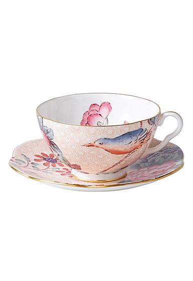 Wedgwood Cuckoo Teacup and Saucer Set Peach