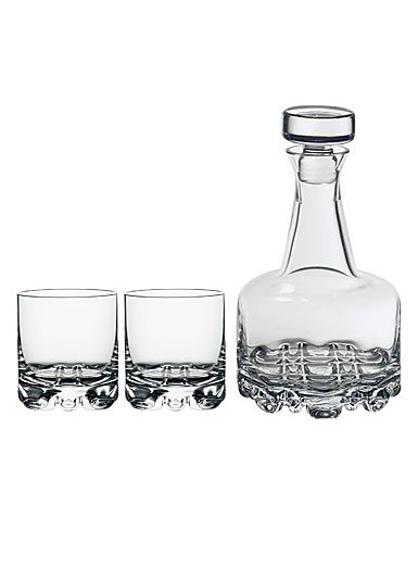 Orrefors Crystal, Erik Crystal Decanter and 2 Crystal DOF Tumbler Barware Set