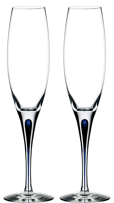 Orrefors Love and Happiness Intermezzo Blue Champagne Flute, Pair