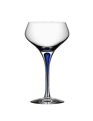Orrefors Crystal, Intermezzo Blue Crystal Champagne Coupe, Single