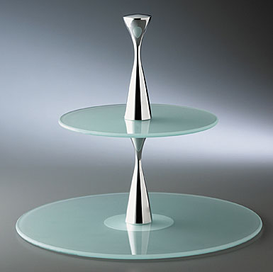 Nambe Metal and Glass Karma Two Tier Serving Stand