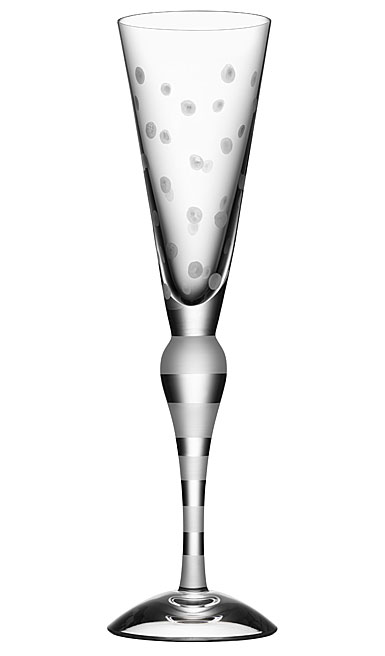 Orrefors Clown Champagne Flute Single, Frost Dots