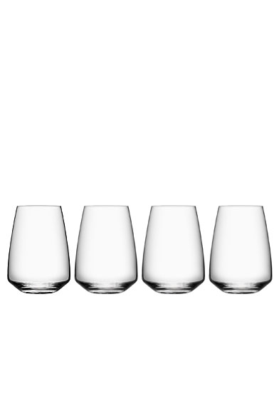 Orrefors Crystal, Pulse Stemless Crystal Wine Tumblers, Set of Four
