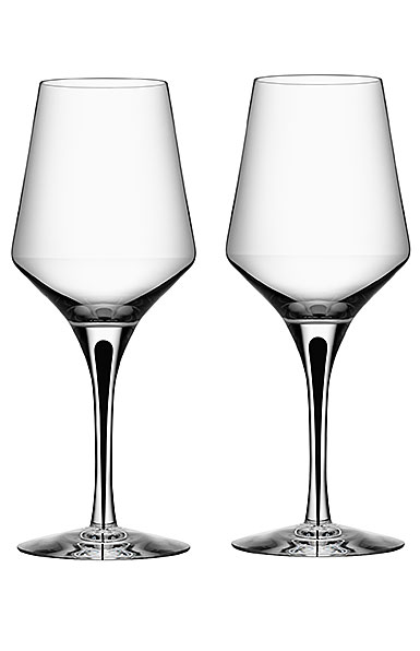 Orrefors Crystal, Metropol Black Crystal White Wine, Pair