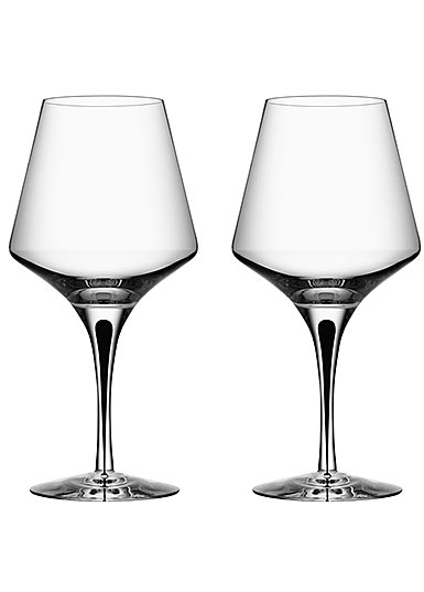Orrefors Crystal, Metropol Black Crystal Red Wine, Pair