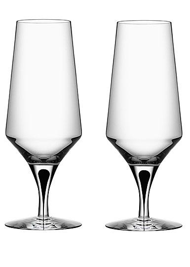 Orrefors Crystal, Metropol Black Beer Glasses, Pair