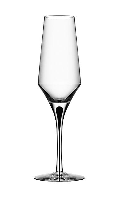 Orrefors Crystal, Metropol Black Champagne Flute, Single