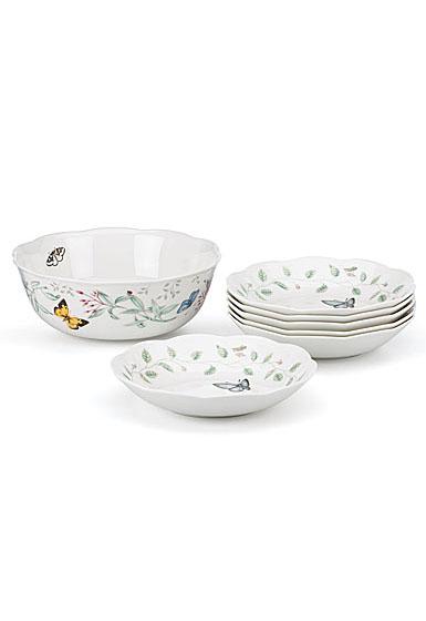 Lenox Butterfly Meadow Dinnerware 7 Piece Pasta Salad Set