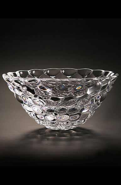 "Orrefors Crystal, Raspberry 8 1/4"" Crystal Bowl"