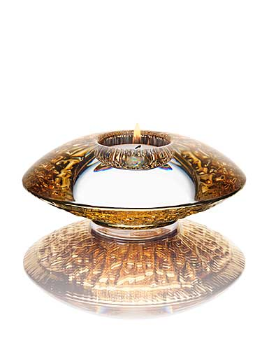 Orrefors Crystal, Discus Gold Crystal Votive, Single