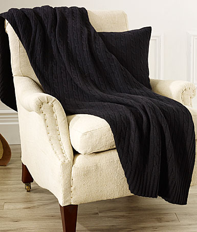 Ralph Lauren Cable Cashmere Throw Blanket, Midnight Black