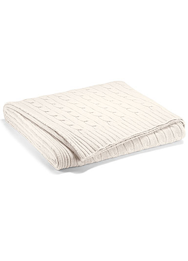 Ralph Lauren Cable Cashmere Throw Blanket, Cream