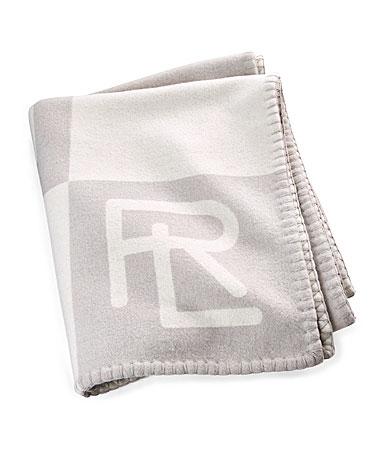"""Ralph Lauren Throw Blanket Norhtam RL 54""""x72"""" Cream, Gray"""