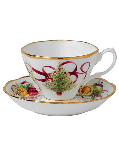 Royal Albert Old Country Roses Christmas Tree Teacup and Saucer Set
