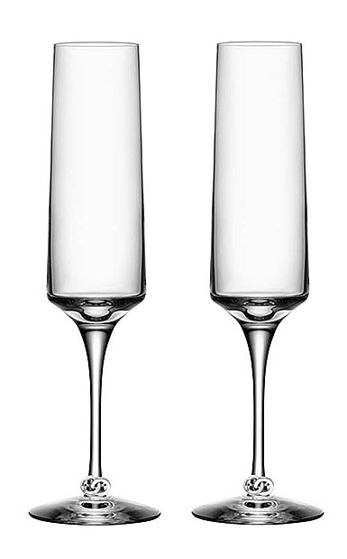 Orrefors Crystal, Unity Champagne Crystal Flutes, Pair