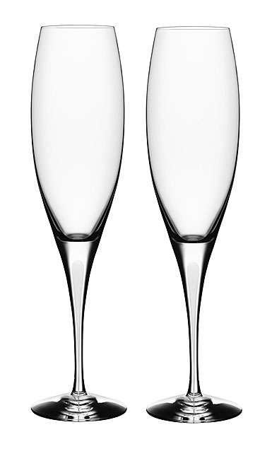 Orrefors Love and Happiness Intermezzo Satin Champagne Flute, Pair