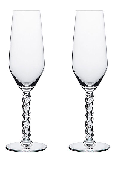 Orrefors Carat Champagne Flutes Pair