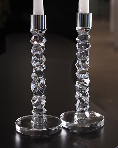 Orrefors Carat Candlestick, Pair