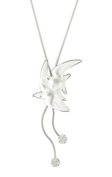 Lalique Crystal Hirondelle Necklace, Clear