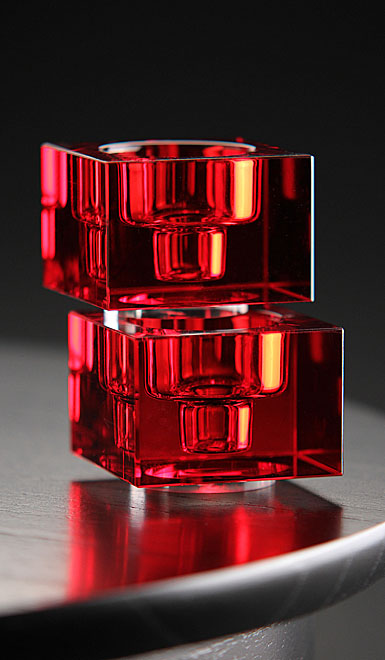 Orrefors Crystal, Totem Balance Crystal Candlestick Red, Pair