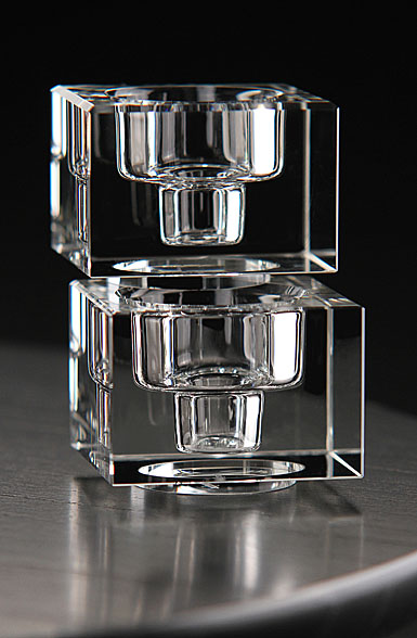 Orrefors Totem Balance Candlestick Clear, Pair
