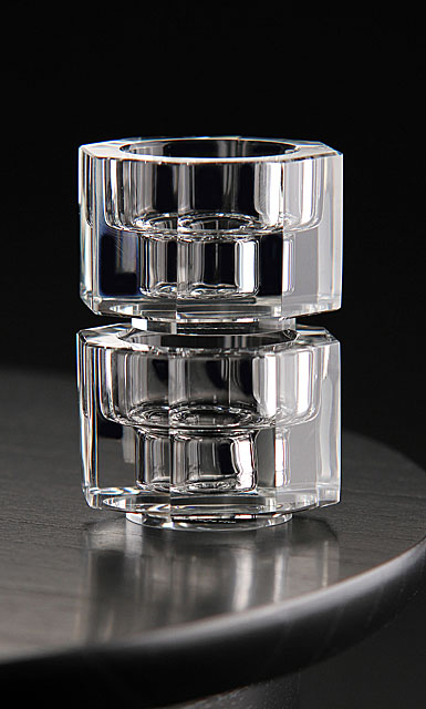 Orrefors Crystal, Totem Tranquility Crystal Candlestick Clear, Pair