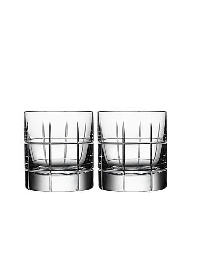 Orrefors Crystal, Street Crystal Whiskey Glasses, Pair