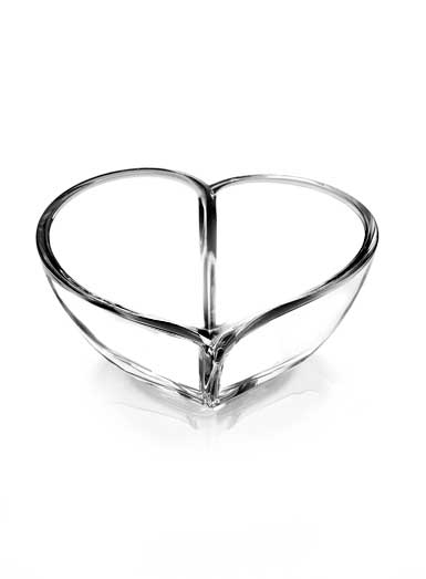 "Orrefors Crystal, Heart 10"" Crystal Bowl"