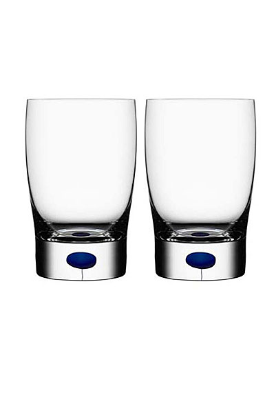Orrefors Crystal, Intermezzo Blue Small Tumbler, Pair