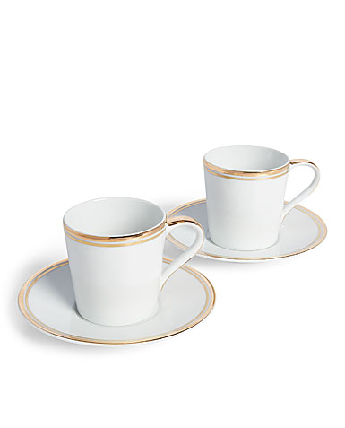 Ralph Lauren China Wilshire Espresso Cup and Saucer, Pair, Gold