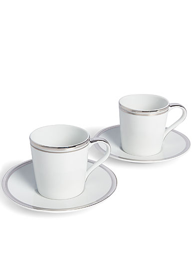 Ralph Lauren China Wilshire Espresso Cup and Saucer, Pair, Platinum
