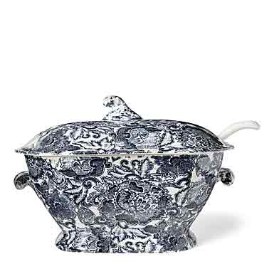 Ralph Lauren China, Faded Peony Soup Tureen, Indigo