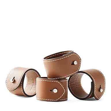 Ralph Lauren Wyatt Set of Four Napkin Rings, Saddle