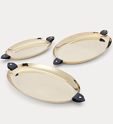 Ralph Lauren Wyatt S and 3 Nested Trays, Navy and Gold