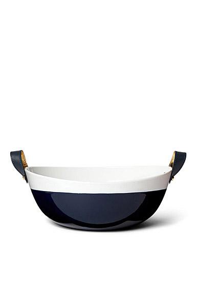 Ralph Lauren China Wyatt Salad Bowl, Navy and White