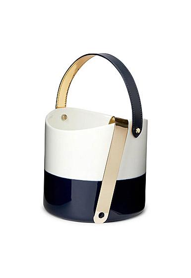 Ralph Lauren China Wyatt Ice Bucket and Tong, Navy and White