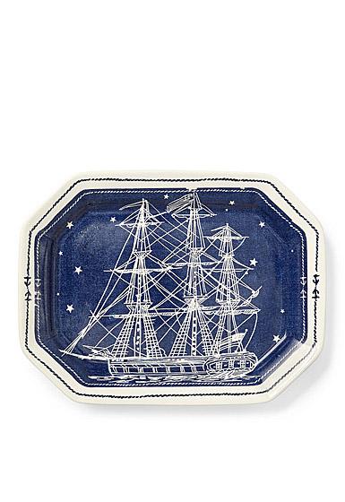 Ralph Lauren China Northern Star Large Rectangular Tray, Indigo