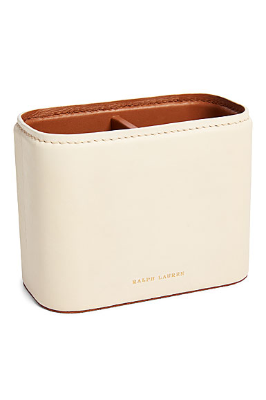 Ralph Lauren Ryan Pencil Cup, Cream and Saddle